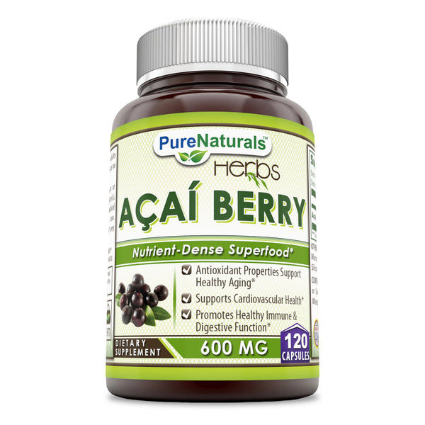 Pure Naturals Acai Berry 600 Mg 120 Capsules