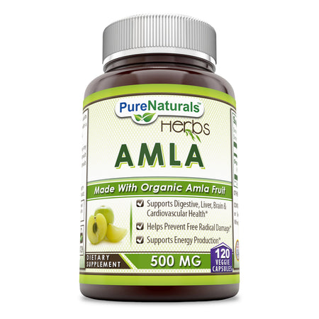 Pure Naturals Amla 500 Mg, 120 Veggie Capsules, Supports Digestive,Liver Brain & Cardiovascular Health, Helps Prevent Free Radial Damage, Supports Energy Production