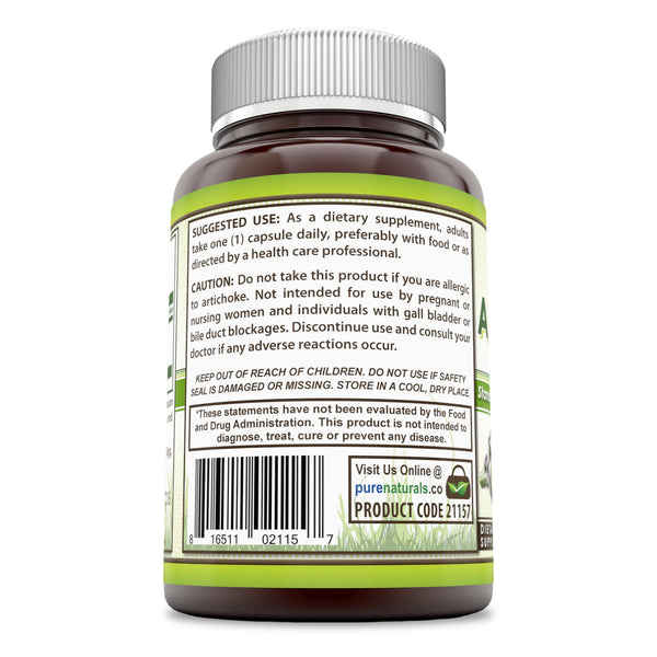 Pure Naturals Artichoke Extract 500 Mg 180 Capsules, Supports Digestive Functions* Promotes Liver Health* Supports The Production of Good Bile in The Liver*