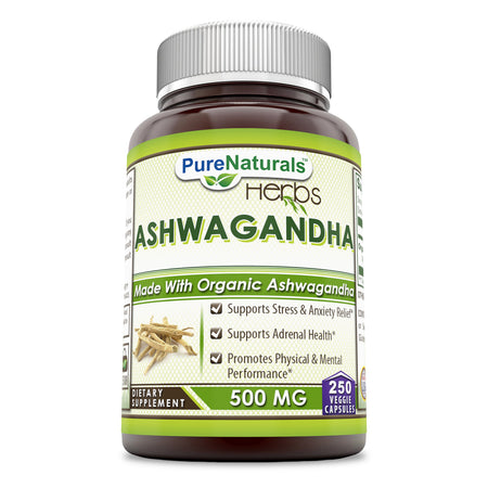 Pure Naturals Ashwagandha 500 Mg 250 Veggie Capsules –Supports Stress & Anxiety Relief* Support Adrenal Health* Promotes Physical & Mental Performance