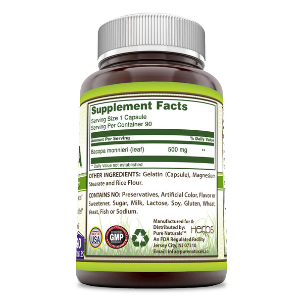 Pure Naturals Herbs Bacopa 500 Mg 90 Capsules