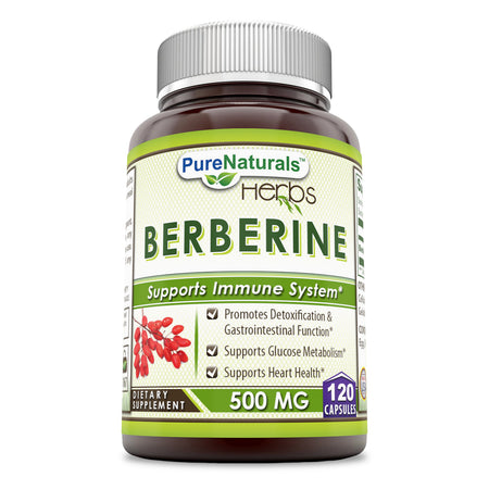 Pure Naturals Berberine 500 mg, 120 Capsules- Promotes Detoxification & Gastrointestinal Function* Supports Glucose Metabolism* Supports Heart Health*