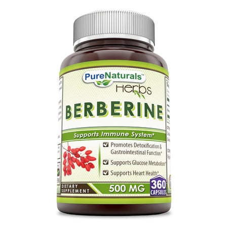 Pure Naturals Berberine 500 Mg 360 Capsules, Promotes Detoxification & Gastrointestinal Function, Supports Glucose Metabolism,Supports Heart Health