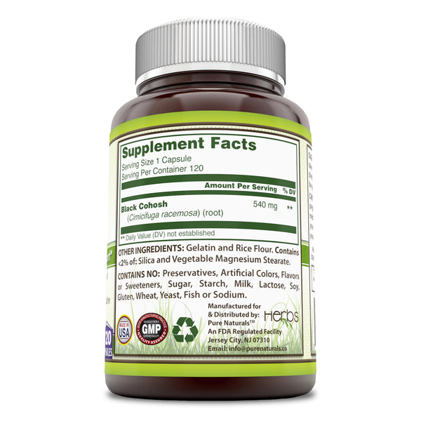Pure Naturals Black Cohosh 540 Mg  120 Capsules Menopause Relief - Natural Solutions for Menopause Support -  Supplement with Pure Root Extract Promotes Female Hormonal Balance,Reduce Hot Flashes And Natural Sleep Aid*