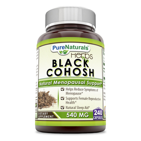 Pure Naturals Black Cohosh 540 Mg 240 Capsules, Hepls Reduce Symptoms of Menopause, Supports Female Reprodictine Health, Natural Sleep Aid