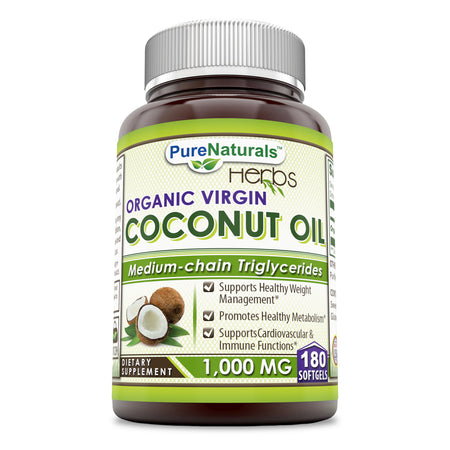 Pure Naturals Organic & Extra Virgin Coconut Oil - 1000 Mg  (180 Softgels) - Supports Cardiovascular Health - Supports Healthy Weight Loss & Medium Chain Triglycerides