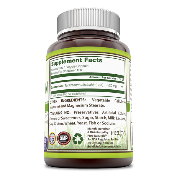 Pure Naturals Dandelion Root Dietary Supplement - 520mg, 120 Capsules - Can Be Used As Tea – Helps to Detox - Promotes Overall Health - Helps to Soothe Upset Stomach - Anti Inflammatory Support*