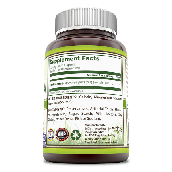 Pure Naturals Echinacea Supplement 400 Mg 120 Capsules