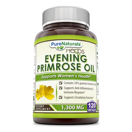 Pure Naturals Evening Primrose Oil 1300 Mg, 120 Softgels, Contains 10% Gamma, Linolenic Acid, Supports Anti- Inflammation and Balances Immune Response, Supports Circulatory Function