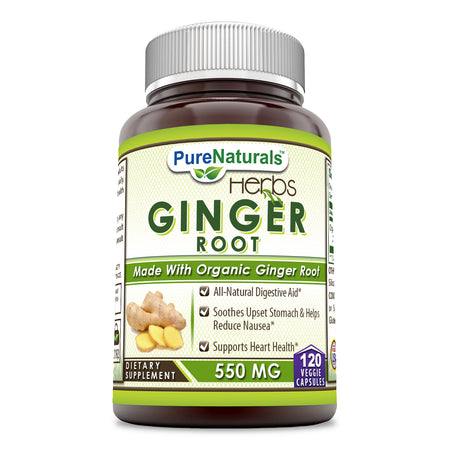 Pure Naturals Ginger Root Supplement - 550mg 120  Capsules - Easy to Swallow Capsule - Commonly Used Natural Remedy for Nausea Due to Pregnancy & Other Conditions Support Heart Health And Upset Stomach