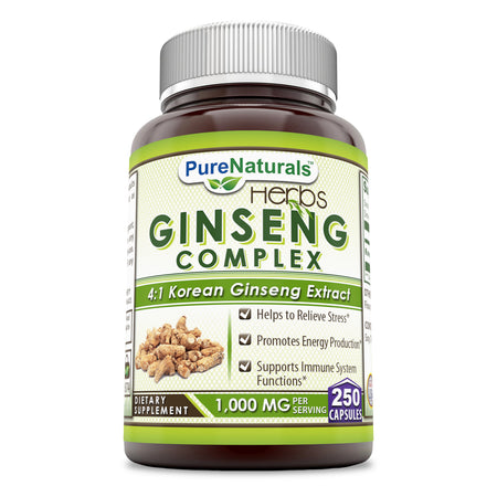 Pure Naturals Ginseng Complex - 1000 mg (250Count)per Serving - Supports Healthy Immune Function, Brain Health, Promotes Energy Performance and More