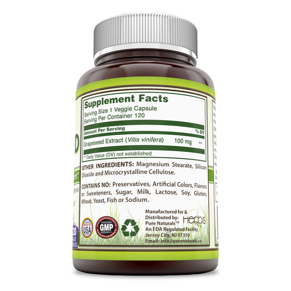 Pure Naturals Grapeseed Extract 100 Mg 120 Veggie Capsules
