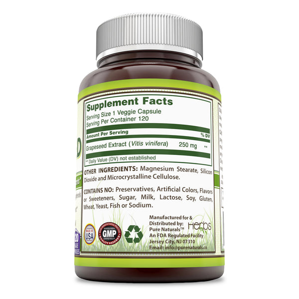 Pure Naturals Grapeseed Extract 250 mg 120 Veggie Capsules