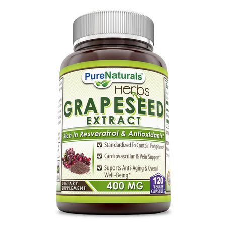 Pure Naturals Grapeseed Extract 400 Mg 120 Veggie Capsules