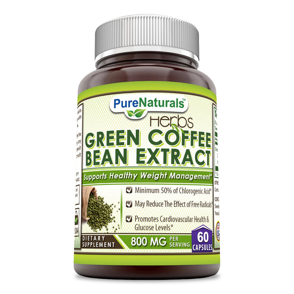 Pure Naturals Green Coffee Bean Extract 800 Mg 60 Capsules