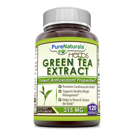 Pure Naturals Herbs Green Tea Extracts 315 Mg 120 Capsules