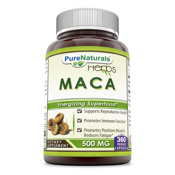 Pure Naturals Maca Root Supplement 500 Mg 360 Veggie Capsules