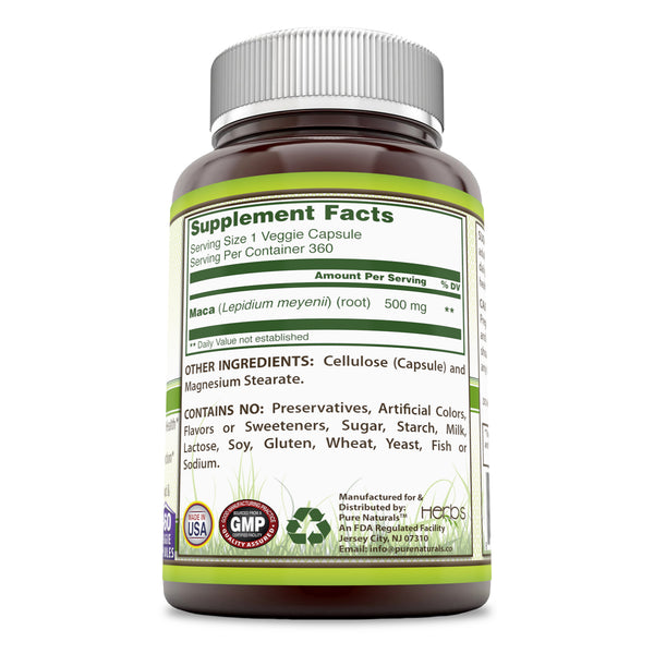 Pure Naturals Maca Root Supplement 500 Mg, 360 Veggie Capsules, Supports Reproductive Health, Promotes Immune Function, Promotes Positive Mood & Reduces Fatigue