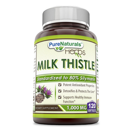 Pure Naturals Milk Thistle - Standardized 1000 mg Seed Extract Softgels with 80% Silymarin - Commonly Used for Hangover Cures, Weight Loss & Liver Detox – 120 Softgels per Bottle