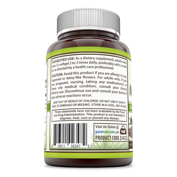 Pure Naturals Milk Thistle - Standardized 1000 mg  120 Softgels  Seed Extract Softgels with 80% Silymarin - Commonly Used for Hangover Cures Supports Weight Loss,Liver Detox & Healthy Immune Function