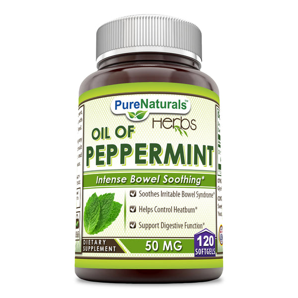 Pure Naturals Oil Of Peppermint 50 Mg 120 Softgels