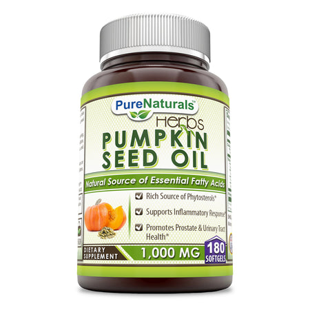 Pure Naturals Pumpkin Seed Oil 1000 Mg 180 Softgels, Rich Source of Phytosterols, Supports Inflammatory Response, Promotes Prostate & Urinary Tract Health