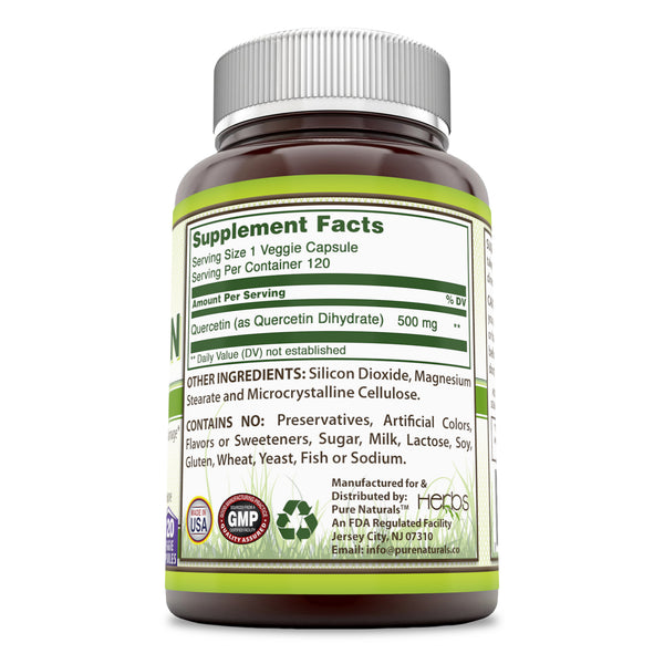 Pure Naturals Quercertin 500 Mg Veggie Capsules  (120 Count) (Non-GMO)- Anti- inflammatory Support, Supports Cardiovascular and Immune Health*
