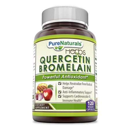 Pure Naturals Quercetin 800 Mg with Bromelain 165 Mg 120 Veggie Capsule -Reduces Sign of Aging* -Supports Healthy Immune Response*