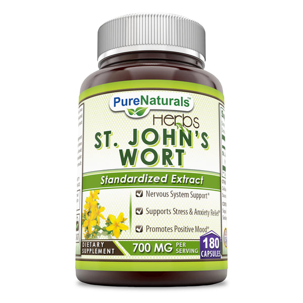 Pure Naturals St. John's Wort 700 Mg 180 Capsules, Nervous System Support, Supports Stress & Anxiety Relief, Promotes Positive Mood