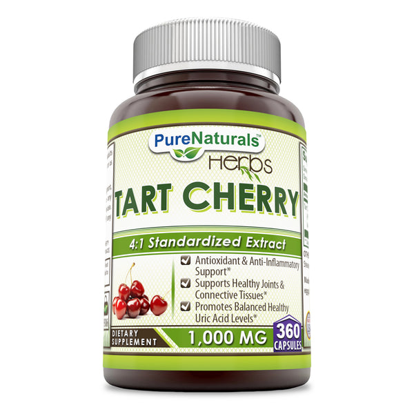 Pure Naturals Tart Cherry 1000 Mg Capsules  (360 Count) -Supports Healthy Joints & Connective Tissues -Promotes Balanced Healthy Uric Acid Levels -Anti-oxidant & Anti-inflammatory Properties