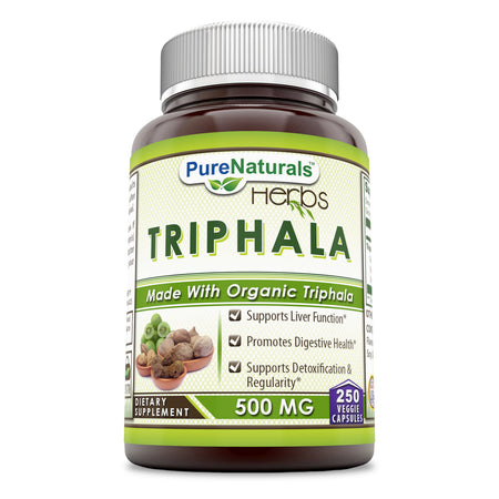 Pure Naturals Organic Triphala 500 Mg 250 Veggie Capsules Supports Liver Function, Promotes Digestive Health, Supports Detoxification & Regularity