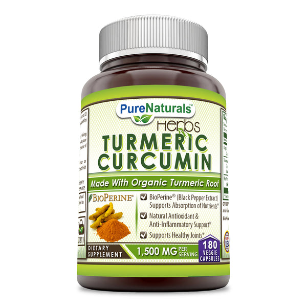 Pure Naturals Turmeric Curcumin with BioPerine, 1500 Mg Per Serving 180 Veggie Capsules – Bioperine (Black Pepper Extract Supports Absorption of Nutrients* Natural Antioxidants of Nutrients)