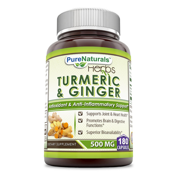Pure Naturals Turmeric Plus Ginger 500 mg, Capsules (180 Count) -Antioxidant Power - Provides Anti-Inflammatory Support & Supports Joint & Heart Health