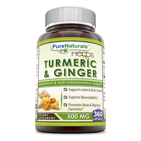 Pure Naturals Turmeric Plus Ginger 500 mg, Capsules (360 Count) Antioxidant Power - Provides Anti-Inflammatory Support & Supports Joint & Heart Health