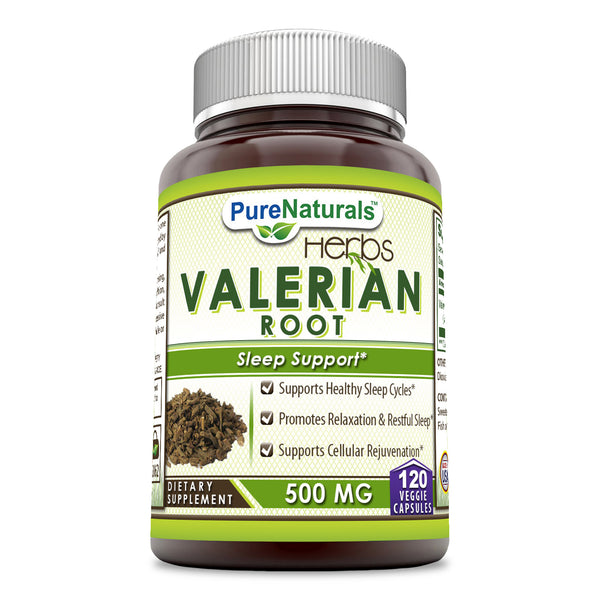 Pure Naturals Valerian Root 500 mg, Capsules (120 Count) - Supports Healthy Sleep Cycles,Promotes Relaxation & Restful Sleep