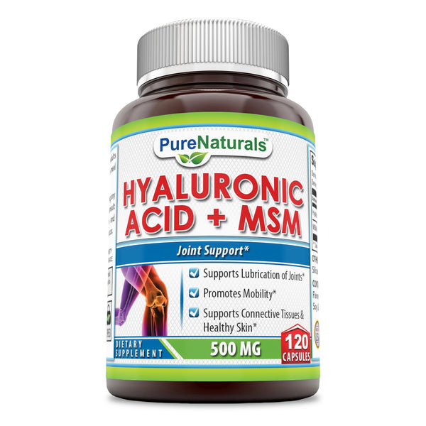 Pure Naturals Hyaluronic Acid Plus MSM 500 MG 120 Capsules