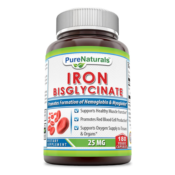 Pure Naturals Iron Bisglycinate 25 Mg 180 Veggie Capsules