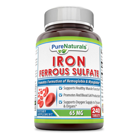 Pure Naturals Iron Ferrous Sulfate 65 Mg 240 Tablets