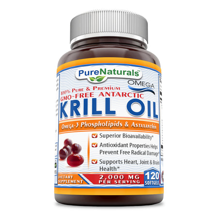 Pure Naturals 100% Pure & Premium Krill Oil Superior Bioavailability, Antioxidant Properties Helps Prevent Free Radical Damage, Supports Heart, Joint & Hair, Health