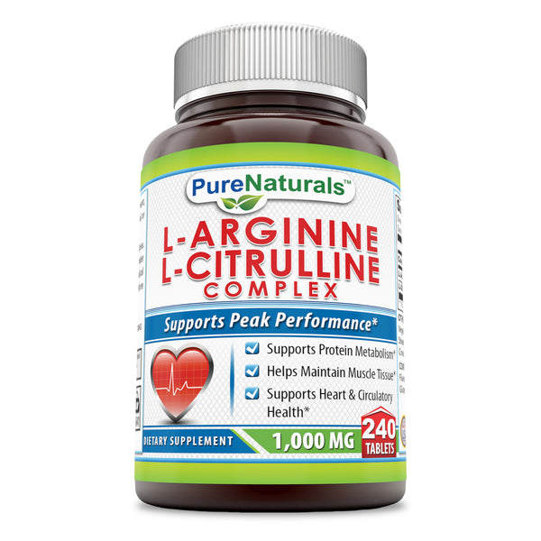 Pure Naturals L-Arginine L-Citrulline Complex, 1000 Mg Tablets, 240 Count - Supports Cardiovascular Health* and Circulatory Function, Helps Maintain Normal Blood Pressure*