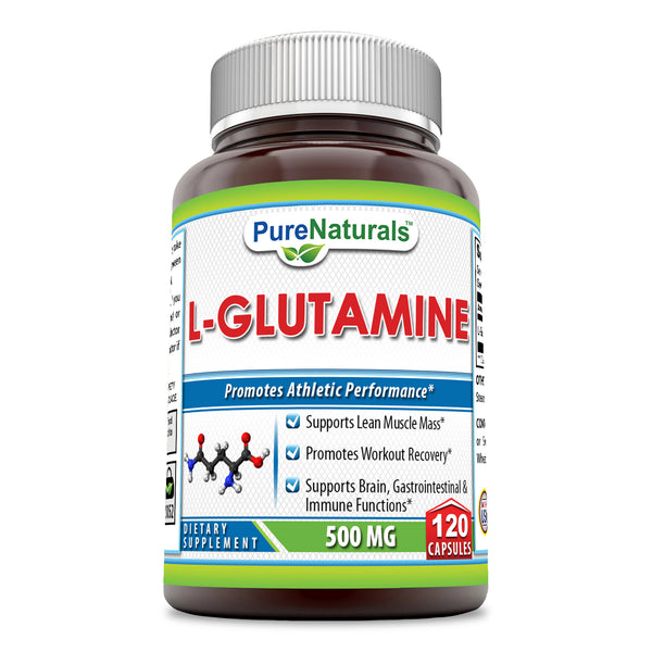Pure Naturals L-Glutamine 500 Mg, 120 Capsules Supports Lean Muscle Mass, Promotes Workout Recovery, Supports Brain, Gastrointestinal and Immune Functions