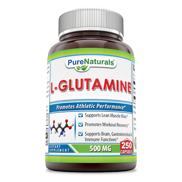 Pure Naturals L-Glutamine 500 Mg, 250 Capsules -Supports Lean Muscle Mass, Brain & Immune Functions*