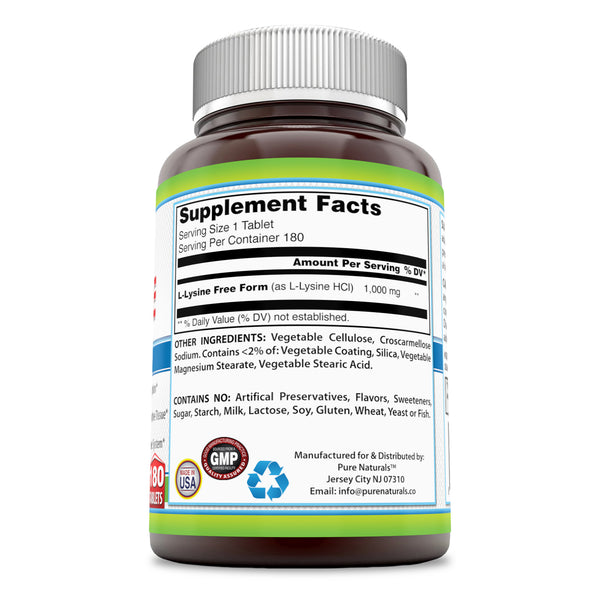 Pure Naturals L-Lysine 1000 Mg 180 Tablets, Supports Calcium Absorption* Supports Healthy Connective Tissue* Supports Healthy Immune System*