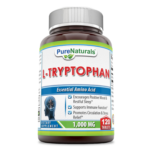 Pure Naturals L-Tryptophan Dietary Supplement 1000 mg 120 Tablets