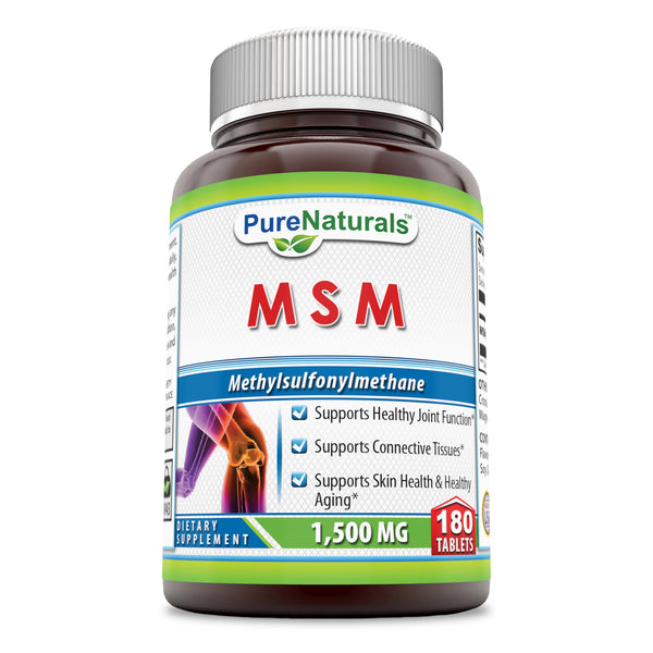 Pure Naturals MSM Tablets, 1500 mg, 180 Tablets, Supports Healthy Join Function* Supports Connective Tissues* Supports Skin Health & Healthy Aging*