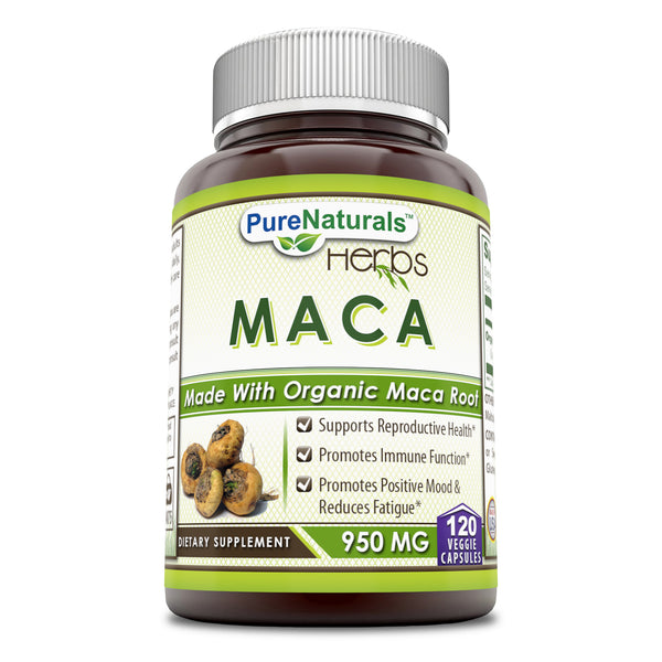 Pure Naturals Maca 950 Mg - Made with Organic Maca Root 120 Veggie Capsules- Promotes Immune Function*, Positive Mood and Reduce Fatigue*