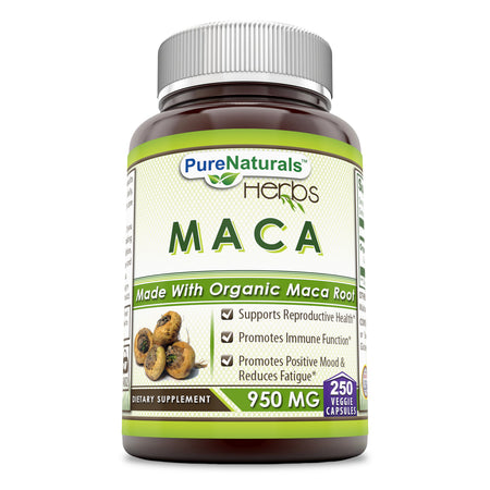 Pure Naturals Maca 950 Mg 250 Capsules - Made with Organic Maca Root Supports Reproductive Health,Immune Functions & Positive Mood