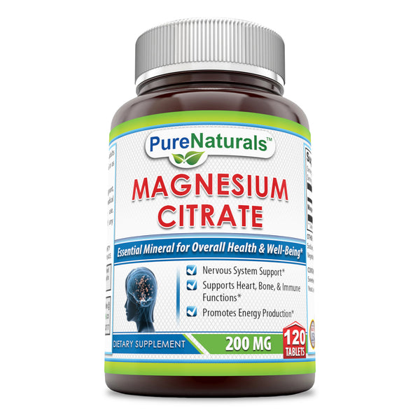 Pure Naturals Magnesium Citrate 200 Mg 120 Tablets