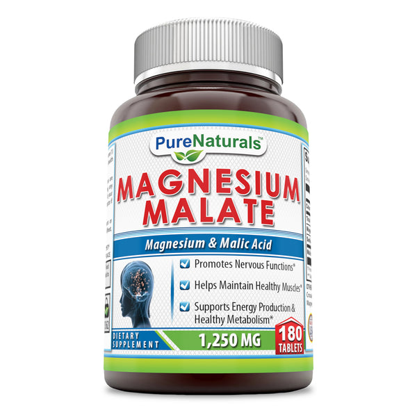Pure Naturals Magnesium Malate, 1250 Mg Per Serving 180 Tablets – Promotes Nervous Function* Helps Maintain Healthy Musles* Supports Energy Prduction & Healthy Metabolism*