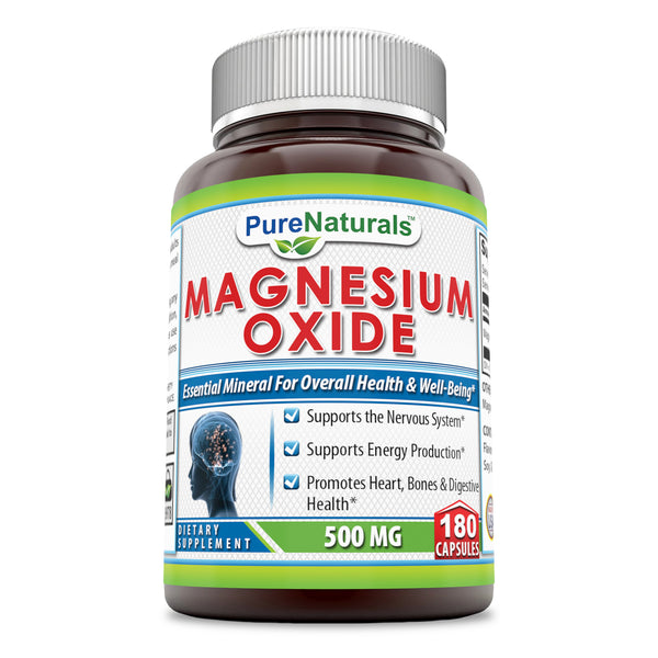 Pure Naturals Magnesium Oxide Supplement 500mg 180 Capsules
